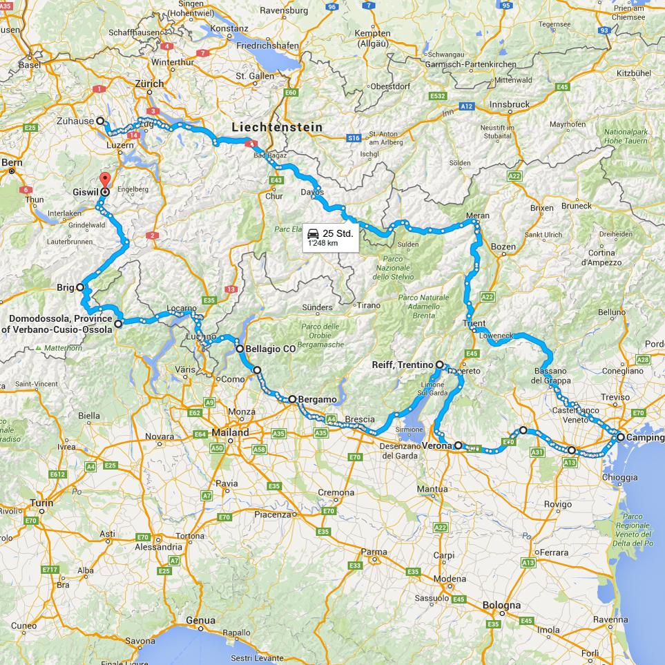 In zwei Tagen nach Venedig und in sechs nach Giswil.